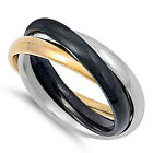 Stainless Steel Triple Russian Rolling Style 3in1 Cute Love Band Ring Sizes 5-12