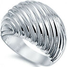 925 Sterling Silver Shiny Unique Design 17 mm Wide Woman's Dome Ring Size 3-11