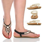 WOMENS LADIES FLAT COMFORT PADDED T-BAR SLINGBACK STRAPPY DIAMANTE SANDALS SIZE
