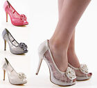NEW LADIES WOMENS MESH LACE PLATFORM STILETTO PEEPTOE BRIDAL PROM SHOES SIZE 3-8