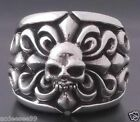 925 STERLING SILVER SKULL FLEUR ROCKSTAR TRIBAL BIKER RING US sz 6 to 15
