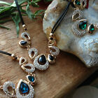 Necklace Crystal Emerald Necklace Midnight Blue Gem Dull gold Gift Set christmas