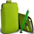 DURABLE COLOUR PULL TAB PHONE POUCH & LONG STYLUS PEN FOR SAMSUNG GALAXY MOBILES