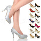 WOMENS LADIES MID HIGH HEEL PLATFORM PARTY WORK EVENING COURT SHOES PUMPS SIZE