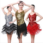 HJ12# Fringe Latin Dance Costume Raindrop Sequins Ballroom Dress 9 Colors