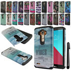 For LG G4 H815 F500 VS986 H810 Dual Layer HYBRID HARD BACK Case Cover + Pen