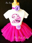 Roller Skate Skating Hot Pink 2nd Second Birthday Shirt Tutu Outfit Set girl