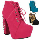 WOMENS LADIES HIGH HEEL BLOCK PLATFORM ANKLE STUDDED LEOPARD BOOTS SHOES SIZE