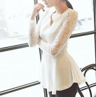 Women Long Sleeve Tops Solid Lace Chiffon V-neck T-shirt Blouse Slim Low-cost