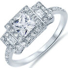Sterling Silver 3 Stone Princess Cut Clear CZ Engagement Wedding Ring Size 3-11