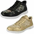 Ladies Black/Gold Textile/Synthetic Lace Up Trainers  F80101   UK 3 - 8
