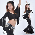 New Belly Dance Costume 2 Pics Hanging Beads Blouse Top&Pants 9 Colours