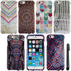 For Apple iPhone 6 4.7 inch Mandala Chevron PATTERN HARD Case Phone Cover + Pen