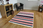 Striped Area Rug Fashionable Affordable Easy Clean Milan Navy Blue Cream Red New