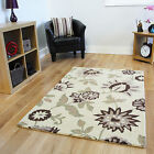 Small Large Thick Non Shed Modern Wool Rugs Beige Flower Print Living Room Rug