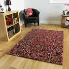 Modern Red Small Large Rugs Soft Easy Clean Non Shed Design Rug Living Carpet
