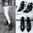 Ladies Chic Autumn Pointy Toe High Wedge Heels Leather Buckle Ankle Boots Shoes
