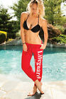 New Lifeguard Washed Capri Sweatpants Red Cotton Blend exercise fit