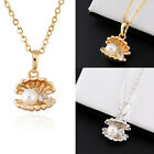 Fashion 18k Gold/Platinum Filled Ocean Scallops Shell Pearl Pendant Necklace New