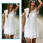 Lady Casual Sleeveless Beach Evening Party  Leisure Mini Lace Dress Skirt Summer