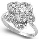 925 Sterling Silver Pave Set Clear CZ Romantic Love Plumeria Cocktail Size 3-11