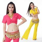 Belly Dance Costume Tribal(Short Sleeve Top/338# Hip Scarf/Flared Pants)9 Colors