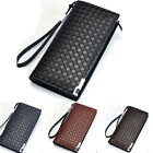 Men's Bifold Leather ID Card Holder Purse Long Billfold Wallet Handbag Clutch