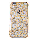 Plating Bling Diamond Palace Flower Back Cover Case For iPhone 6 4.7 Plus 5.5