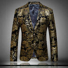 2015 Mens 2 Button Suit Blazers Coat Floral Printing Jacket Business Wedding NEW