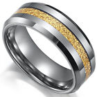 Tungsten Carbide Mens Center Gold Layer Grey Silver 8MM Wedding Band Ring M85