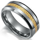 Tungsten Carbide Men's Center Gold Layer Grey Silver 8MM Wedding Band Ring SR111