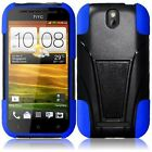 Hybrid Phone Case For HTC One SV Silicone Corner Rugged Hard Cover Stand PL80130