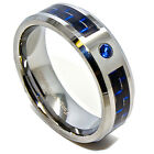 8mm Tungsten Carbide Black & Blue Carbon Fiber Inlay Blue Solitaire Wedding Band