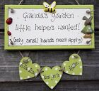 gorgeous LARGE personalised Granny's Grandad's little helpers garden plaque gift