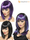 Ladies Vampire Witch Straight Fringe Wig Womens Halloween Fancy Dress Costume