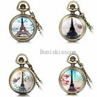 New Fashion Romantic Eiffel Tower Vintage White Case Necklace Chain Pocket Watch
