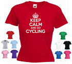 'Keep Calm and Go Cycling' Ladies Girls Funny Bicycle Bike T-shirt Tee