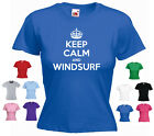 'Keep Calm and Windsurf' Ladies Girls Funny Winsurfing T-shirt Tee