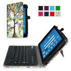 Bluetooth Keyboard PU Leather Cover Case For AT&T Trek 2 HD 8 (Model 6461A)