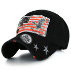 ililily Washed Classic American Flag Patch Precurved Adjustable Baseball Cap Hat