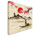 Chinese Painting Fisherman on lake Canvas art, Great Value sq