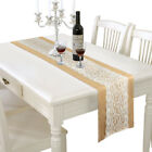 2.2M Natural Hessian Jute Burlap Lace Table Runner Rustic Wedding Decoration