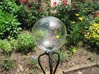 12 Inch Glass Gazing Ball Crystal Swirl, Pin Optic and Clear Crystal