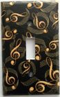 Gold Black Music Notes Light Switch Plate Cover Outlet Bedroom Bath Wall Decor