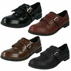 Ladies Spot on brogue buckle fastening flat shoes   F80108  2 colours available