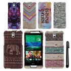 For HTC Desire 610 PATTERN HARD Protector Case Phone Cover Accessory + Pen