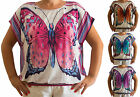New Plus Size Top Shirt Butterfly Womens Ladies Summer 14 - 24 UK Fast Delivery