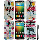 For LG Lucid 3 VS876 Watercolor Chevron PATTERN HARD Case Phone Cover + Pen