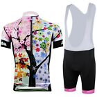 CC2027-2 Cycling Bike Bicycle Short Sleeve Set Women 3D Jersey + Bib Shorts