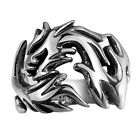 New Gothic Punk Biker Silver Mens Dragon Totem 316L Stainless Steel Ring Jewelry